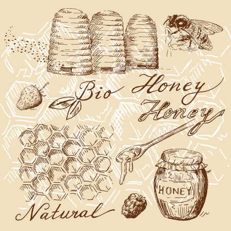 abejas panal: Garabatos de miel