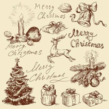 クリスマス落書き  イラスト・ベクター素材
