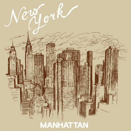 manhattan skyline: hand drawn new york architecture