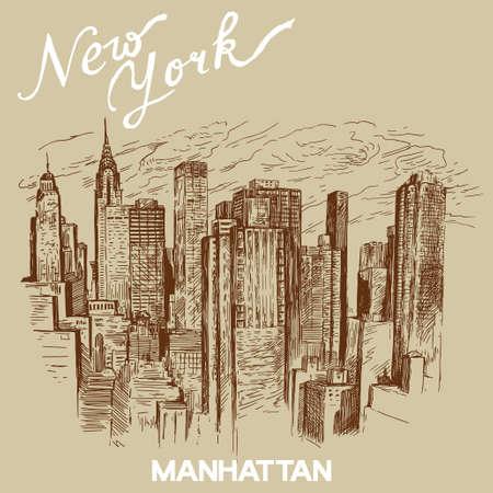 ručně malovaná new york architektura