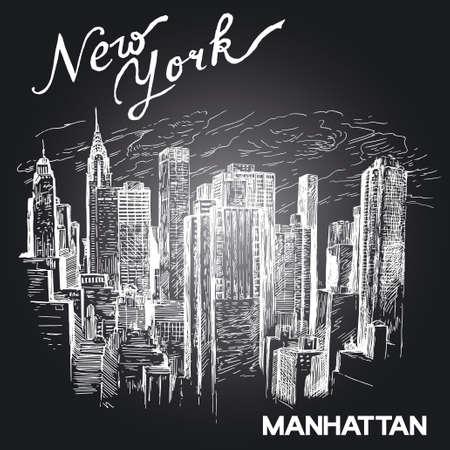 new york skyline: hand drawn new york architecture