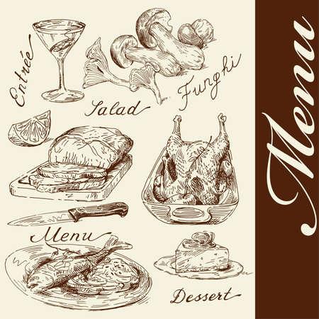 restaurante italiano: men� de dibujado a mano
