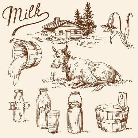 cow illustration: milk doodles