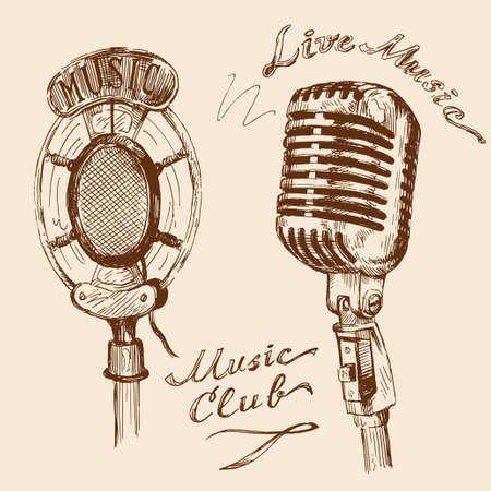 microfono antiguo: garabatos micr�fono