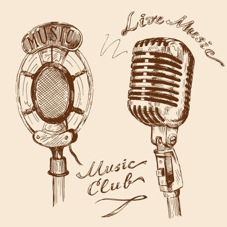 radio microphone: microphone doodles  Illustration