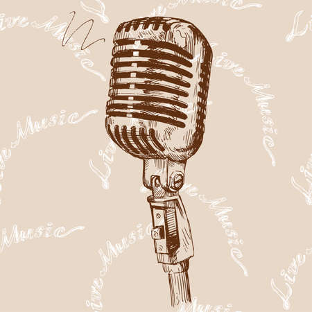 retro styled: microphone doodles  Illustration