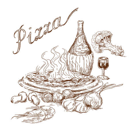 italian pizza: pizza Illustration