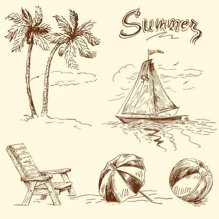strandstoel: zomer doodles
