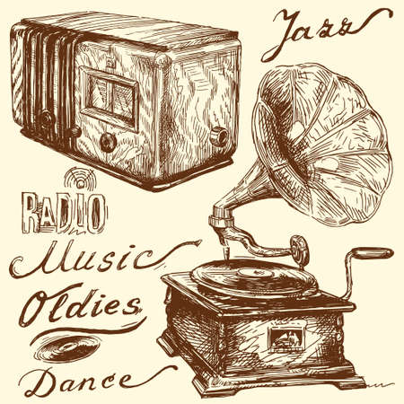 vintage radio: music doodles