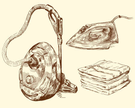 vacuum cleaning: housework Illustration