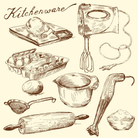 kneading: utensili da cucina Vettoriali