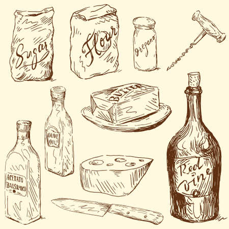 wine and cheese: kitchen set  Illustration