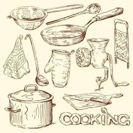 いたずら書きを調理  イラスト・ベクター素材