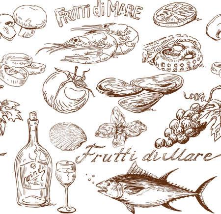 食品のシームレスなパターン