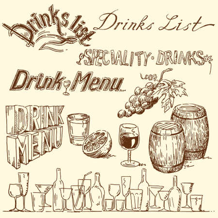 wooden barrel: drink list