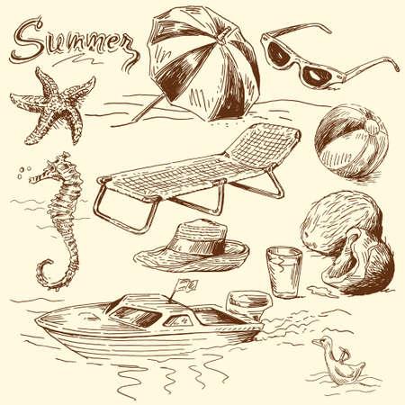 deckchair: summer lounge doodles  Illustration