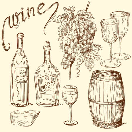 wijn en spijzen: wijn doodles Stock Illustratie