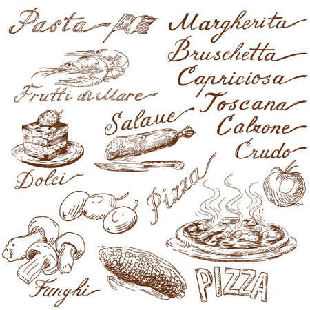 italian pizza: italian food doodles
