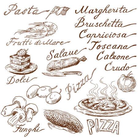 italienisches essen: italienisches Essen Doodles Illustration