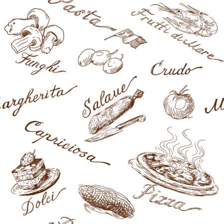 イタリア料理のシームレスなパターン  イラスト・ベクター素材
