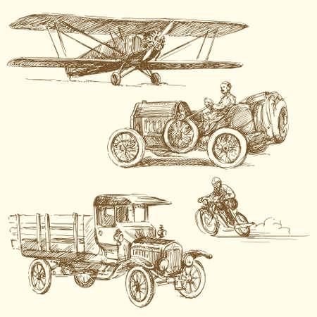 luftschiff: Oldtimer - Hand gezeichnete Sammlung