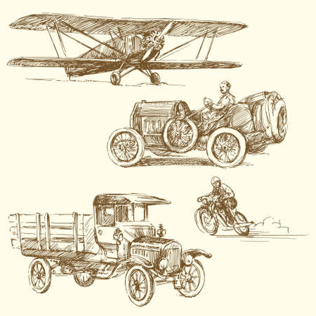 vintage airplane: vintage vehicles - hand drawn collection