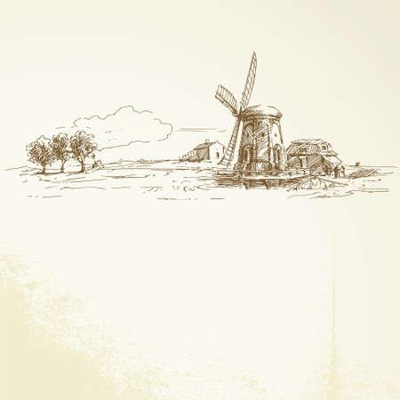 オランダの風車 - 手描きイラスト