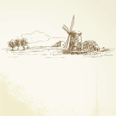 wind mills: holland windmill - hand drawn illustration