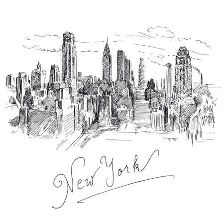 ニューヨーク - 手描きコレクション  イラスト・ベクター素材