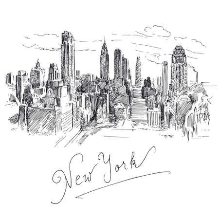 new york skyline: New York - hand drawn collection