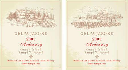 Wein-Etiketten - handgezeichnete Sammlung