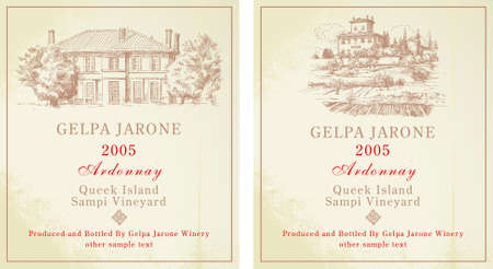 wine labels - hand drawn collection Vector Illustration