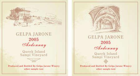 ワインのラベル - 手描き下ろしコレクション