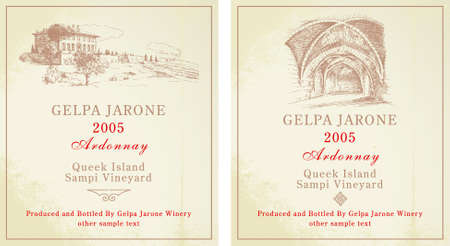 wine labels - hand drawn collection
