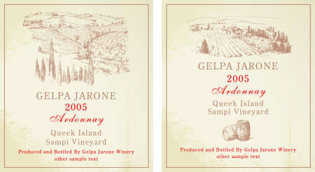 wine labels - hand drawn collection Stock Vector - 14234300