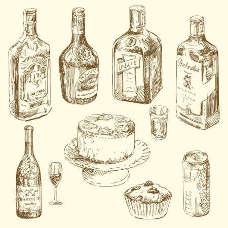 botella de whisky: colección de dibujado a mano de diferentes bebidas