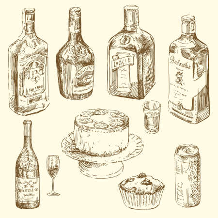 liquor bottle: hand drawn collection of different drinks  Illustration
