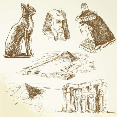 egyptian woman: ancient egypt - hand drawn set
