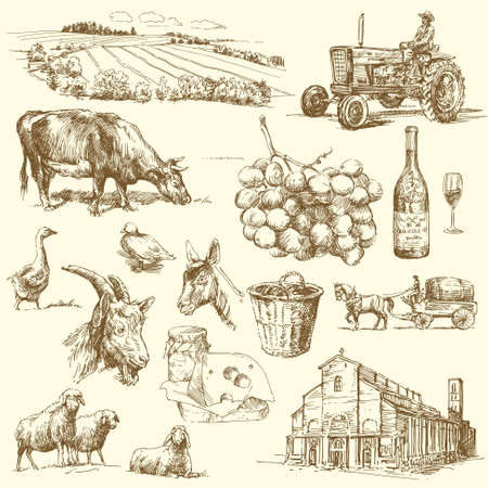 melker: originele hand getrokken boerderij collectie Stock Illustratie