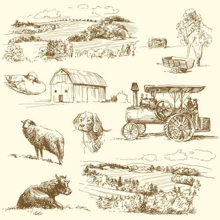 オリジナルの手描きファーム コレクション