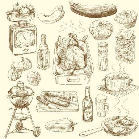 bbq background: big collection of hand drawn food