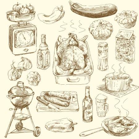 große Sammlung von Hand gezeichnet Lebensmitteln