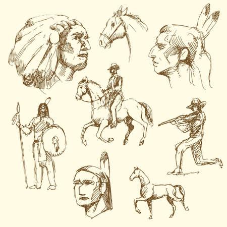 chieftain: Wild West - collezione disegnata a mano Vettoriali