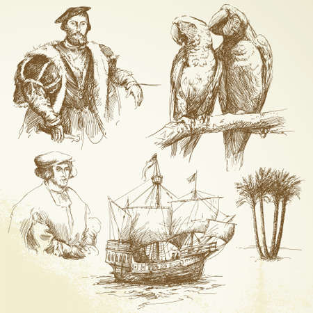 tall ship: nautical collection - hand drawn collection Illustration