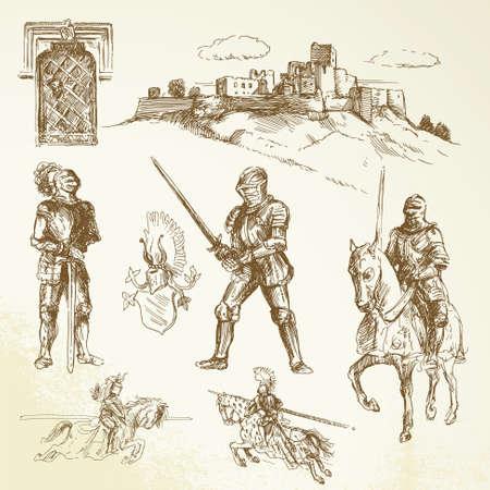 caballero medieval: caballeros medievales - dibujado a mano la colección Vectores