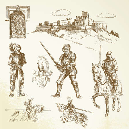 cartoon knight: medieval knights - hand drawn collection Illustration