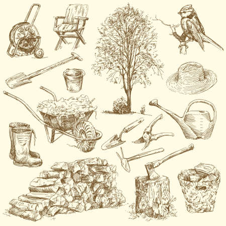 wood agricultural: gardening tools  - hand drawn collection