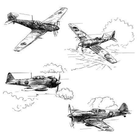 fighter pilot: world war aircraft - hand drawn collection