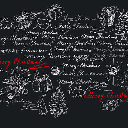 christmas backgrounds: christmas background - hand drawn collection Illustration