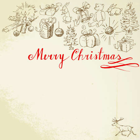 christmas background - hand drawn collection Vector